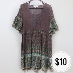 Umgee Boho Ruffle Lace Detail Dress